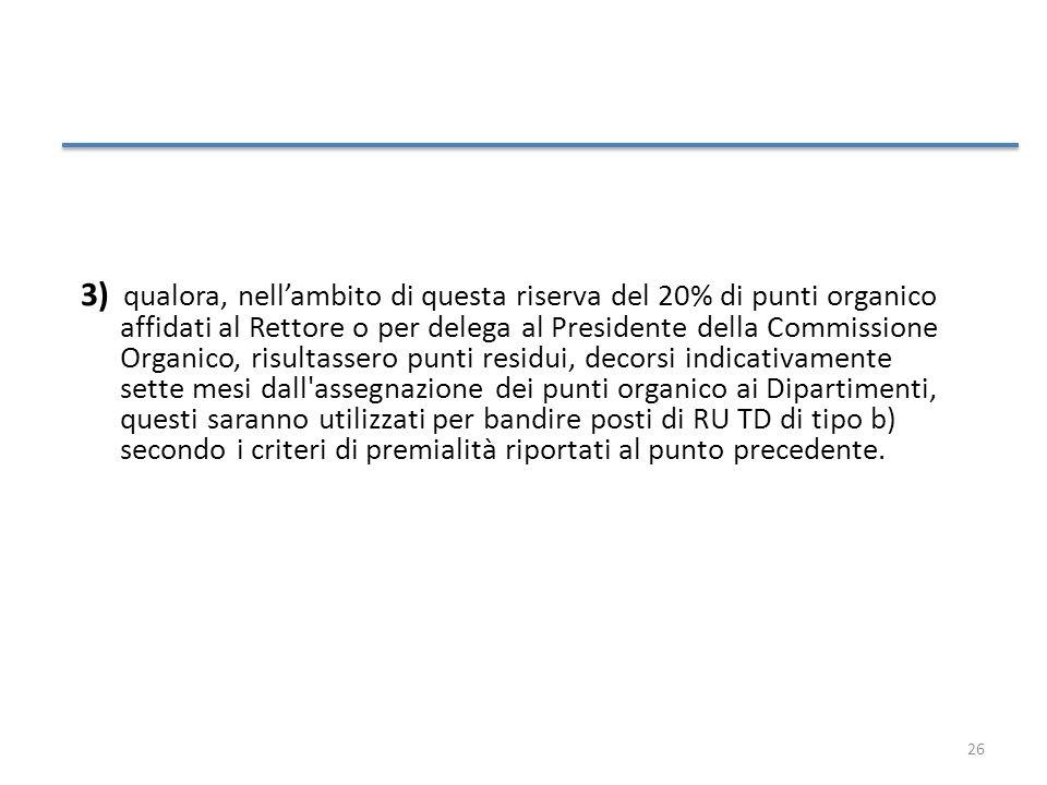 26 3) qualora, nellambito di questa riserva del 20% di punti organico affidati al Rettore o per delega al Presidente della Commissione Organico, risul