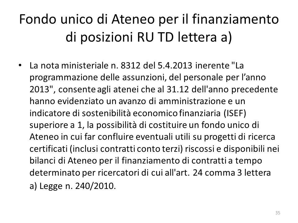 35 Fondo unico di Ateneo per il finanziamento di posizioni RU TD lettera a) La nota ministeriale n. 8312 del 5.4.2013 inerente