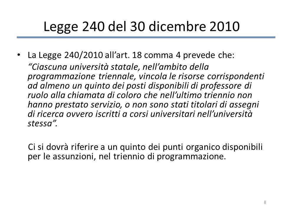 8 Legge 240 del 30 dicembre 2010 La Legge 240/2010 allart. 18 comma 4 prevede che: Ciascuna università statale, nellambito della programmazione trienn