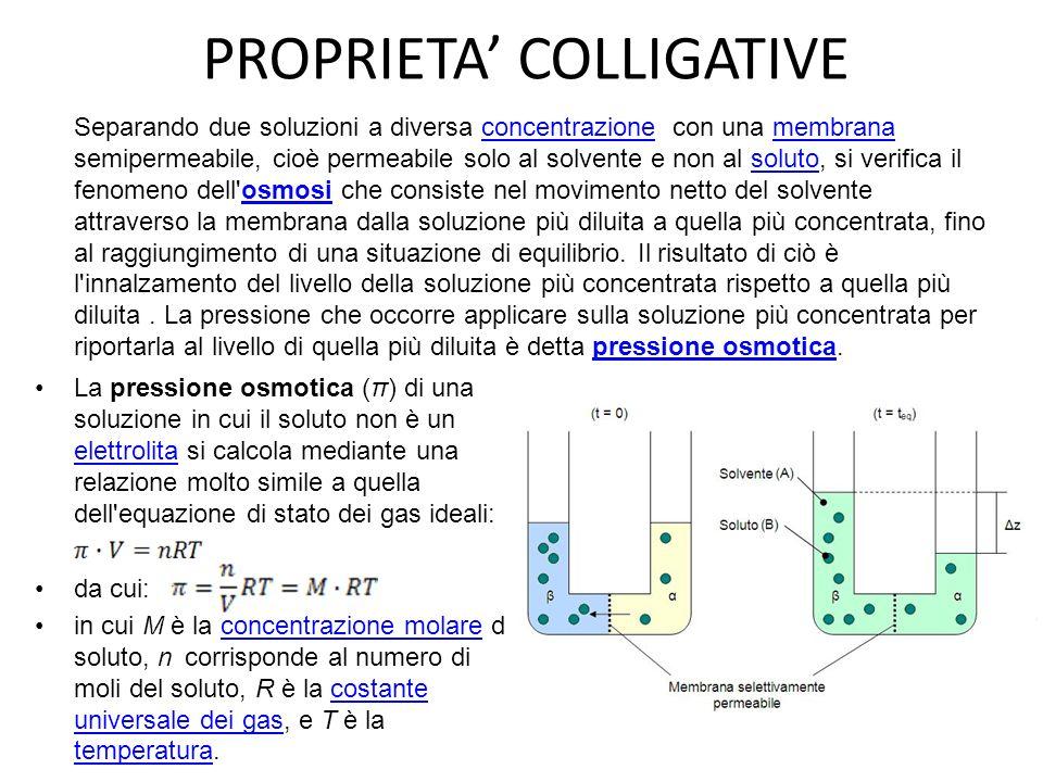PROPRIETA COLLIGATIVE La pressione osmotica (π) di una soluzione in cui il soluto non è un elettrolita si calcola mediante una relazione molto simile