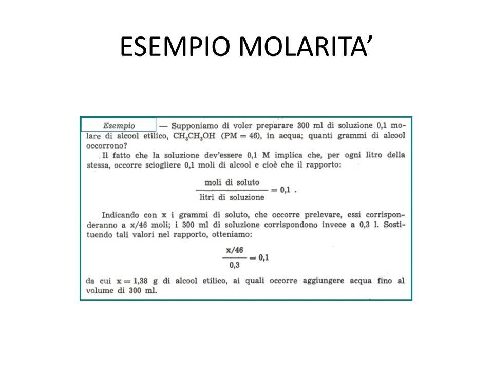 Diluizione Normalmente questa espressione ci serve a calcolare: la molarità finale di una soluzione dopo una diluizione (incognita M 2 ); la quantità di solvente da aggiungere per ottenere una certa molarità finale (incognita V 2, che però è il volume totale, non quello da aggiungere!).