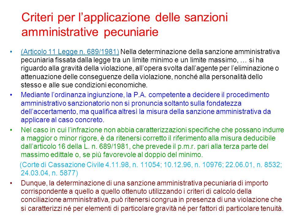 Criteri per lapplicazione delle sanzioni amministrative pecuniarie (Articolo 11 Legge n. 689/1981) Nella determinazione della sanzione amministrativa