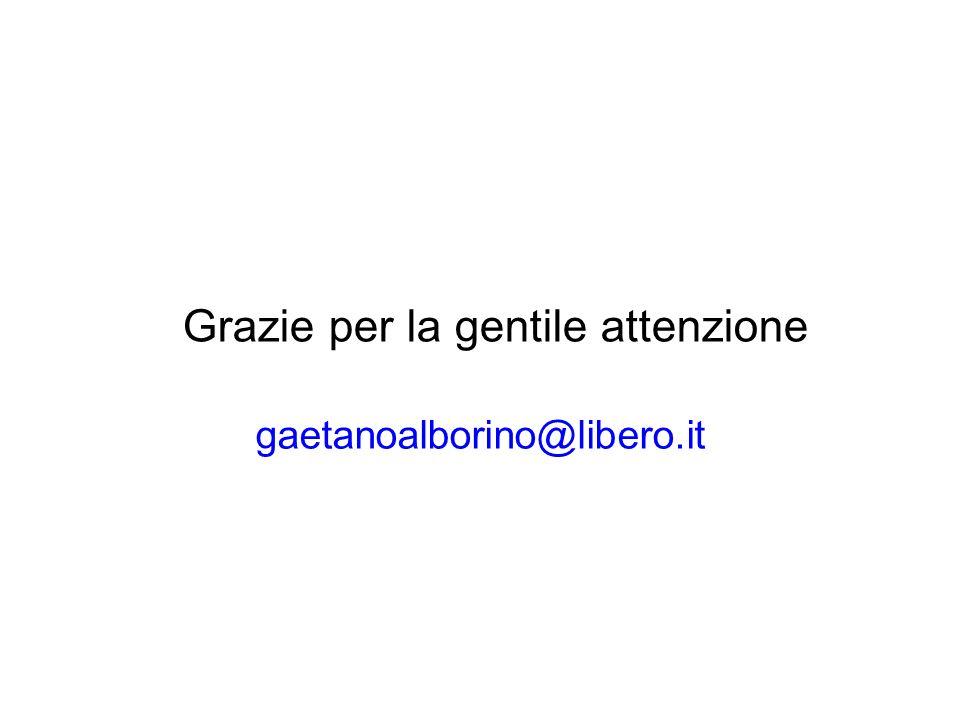Grazie per la gentile attenzione gaetanoalborino@libero.it