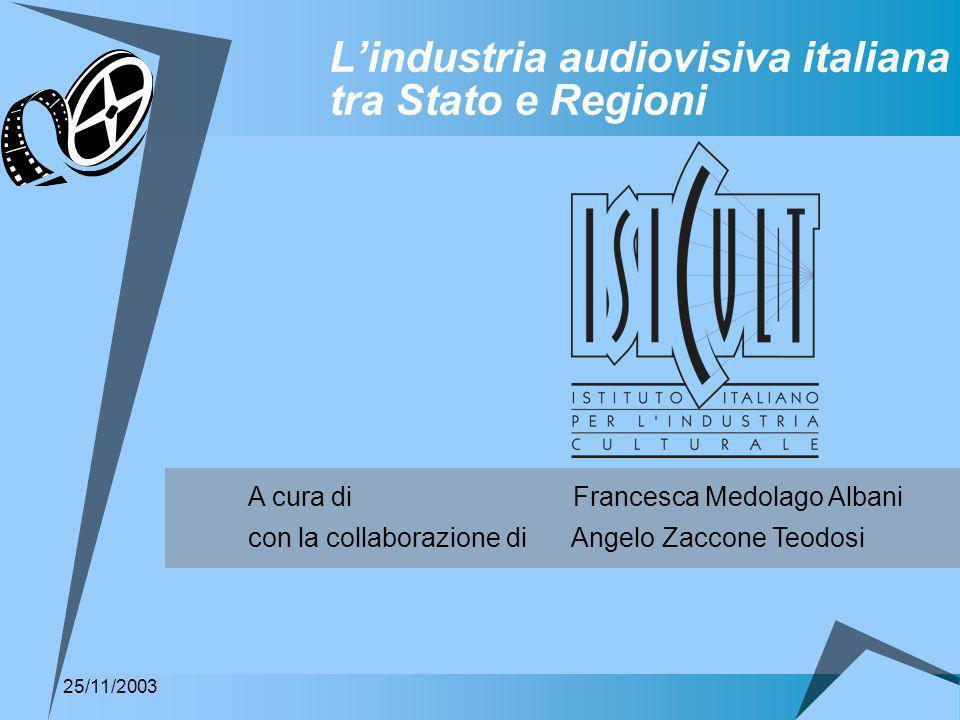 Lindustria audiovisiva italiana tra Stato e Regioni A cura di Francesca Medolago Albani con la collaborazione di Angelo Zaccone Teodosi 25/11/2003