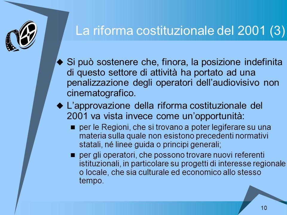10 La riforma costituzionale del 2001 (3) Si può sostenere che, finora, la posizione indefinita di questo settore di attività ha portato ad una penalizzazione degli operatori dellaudiovisivo non cinematografico.