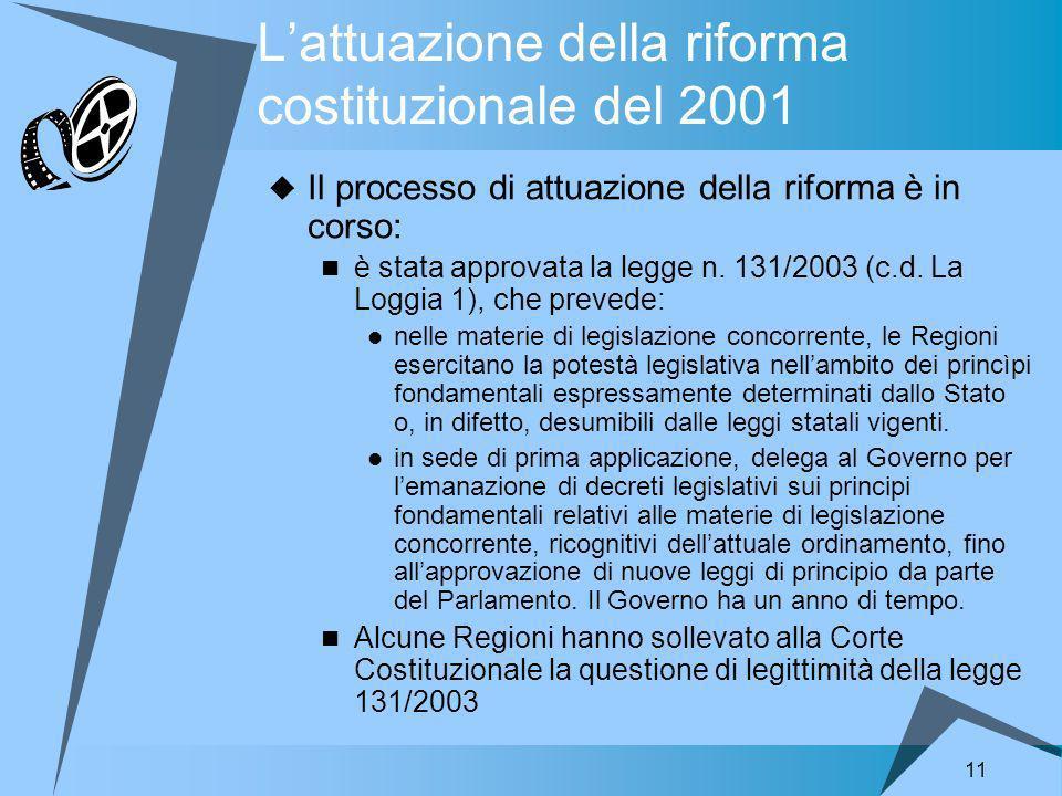 11 Lattuazione della riforma costituzionale del 2001 Il processo di attuazione della riforma è in corso: è stata approvata la legge n.