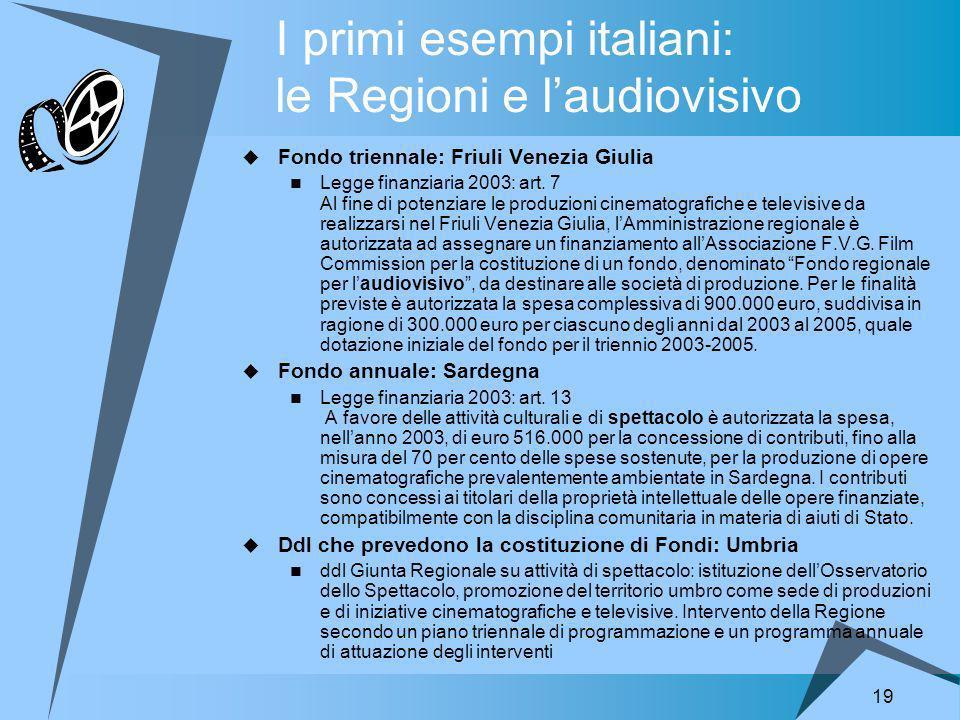 19 I primi esempi italiani: le Regioni e laudiovisivo Fondo triennale: Friuli Venezia Giulia Legge finanziaria 2003: art.