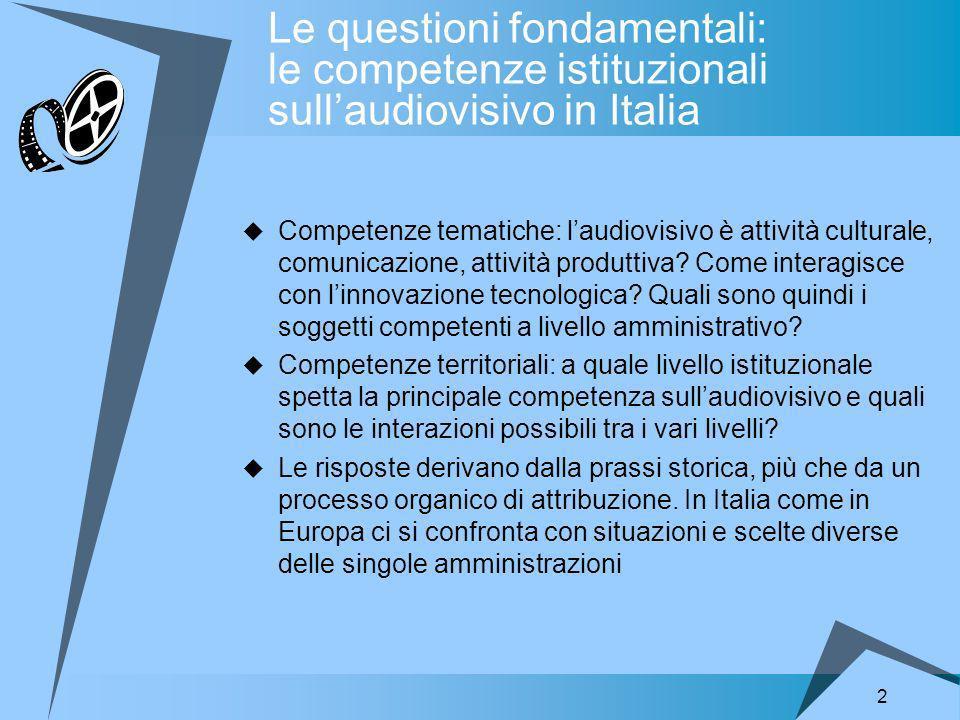 2 Le questioni fondamentali: le competenze istituzionali sullaudiovisivo in Italia Competenze tematiche: laudiovisivo è attività culturale, comunicazione, attività produttiva.