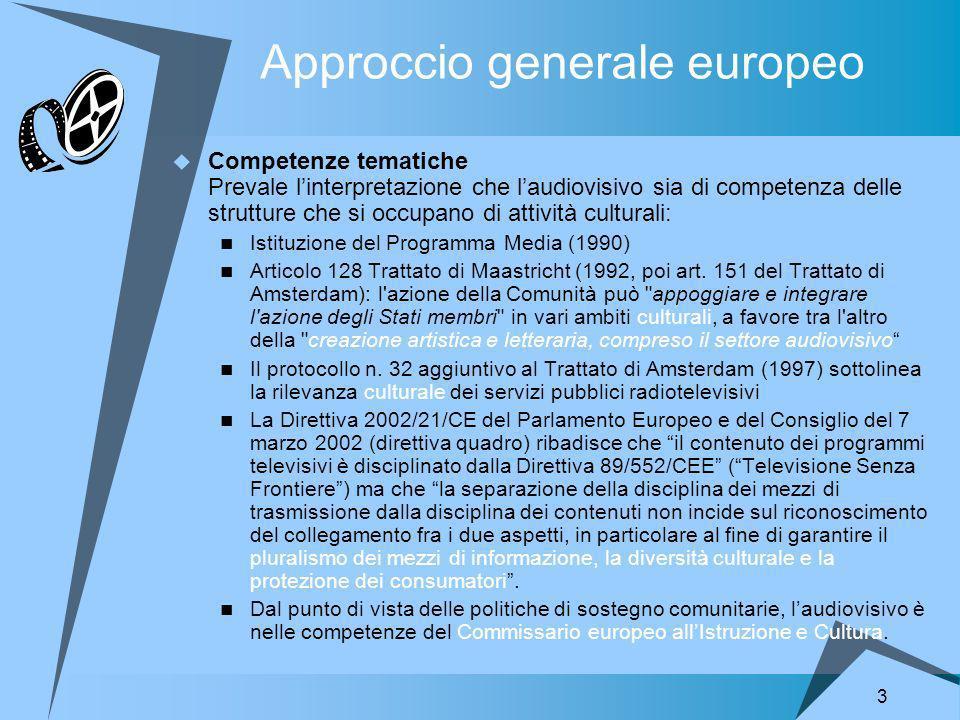 3 Approccio generale europeo Competenze tematiche Prevale linterpretazione che laudiovisivo sia di competenza delle strutture che si occupano di attività culturali: Istituzione del Programma Media (1990) Articolo 128 Trattato di Maastricht (1992, poi art.