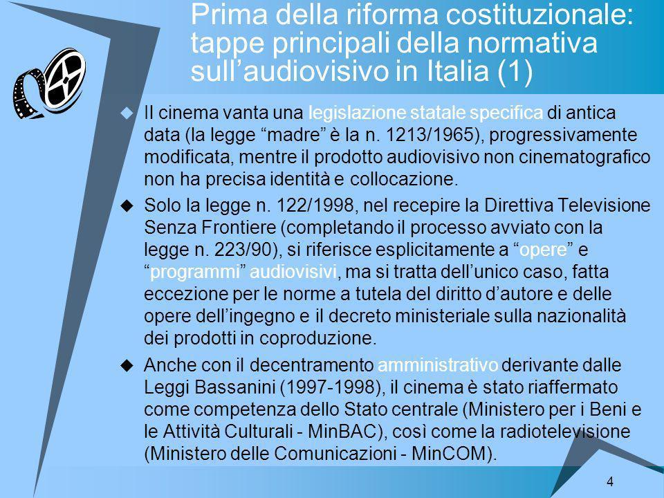 4 Prima della riforma costituzionale: tappe principali della normativa sullaudiovisivo in Italia (1) Il cinema vanta una legislazione statale specifica di antica data (la legge madre è la n.