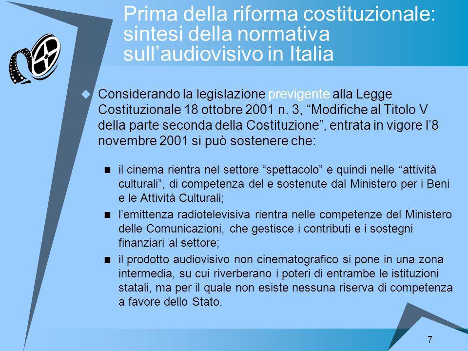 7 Prima della riforma costituzionale: sintesi della normativa sullaudiovisivo in Italia Considerando la legislazione previgente alla Legge Costituzionale 18 ottobre 2001 n.