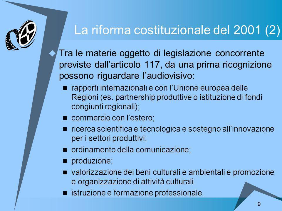 9 La riforma costituzionale del 2001 (2) Tra le materie oggetto di legislazione concorrente previste dallarticolo 117, da una prima ricognizione possono riguardare laudiovisivo: rapporti internazionali e con lUnione europea delle Regioni (es.