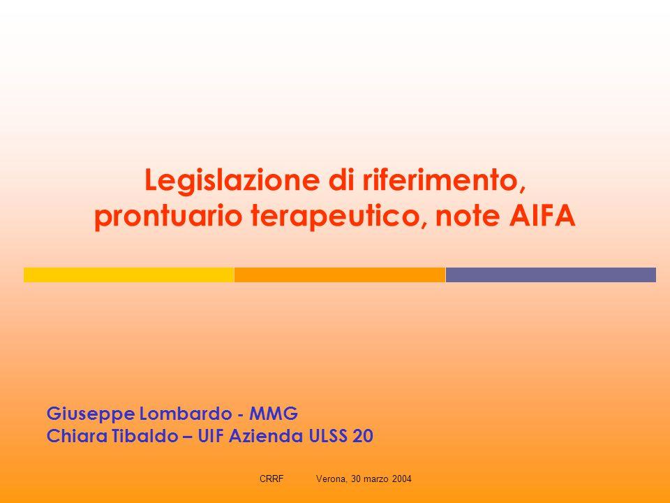 CRRF Verona, 30 marzo 2004 Legislazione di riferimento, prontuario terapeutico, note AIFA Giuseppe Lombardo - MMG Chiara Tibaldo – UIF Azienda ULSS 20
