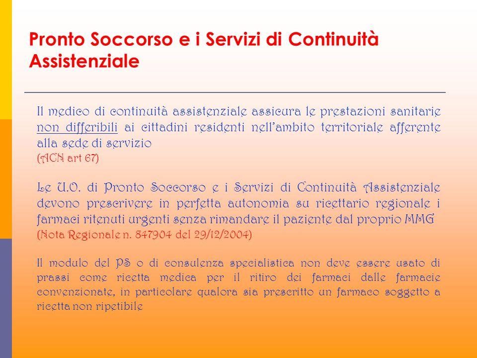 Il medico di continuità assistenziale assicura le prestazioni sanitarie non differibili ai cittadini residenti nellambito territoriale afferente alla