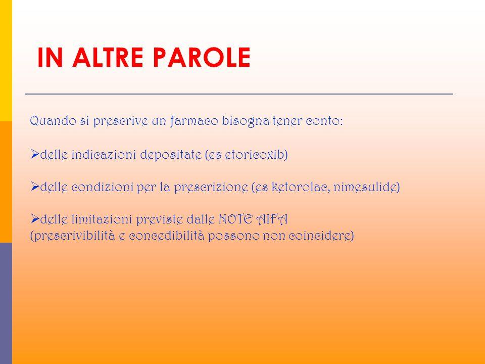 IN ALTRE PAROLE Quando si prescrive un farmaco bisogna tener conto: delle indicazioni depositate (es etoricoxib) delle condizioni per la prescrizione