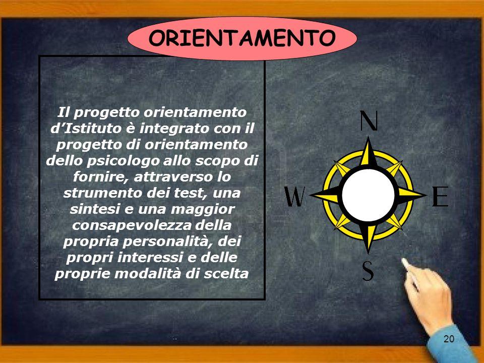 20 Il progetto orientamento dIstituto è integrato con il progetto di orientamento dello psicologo allo scopo di fornire, attraverso lo strumento dei t