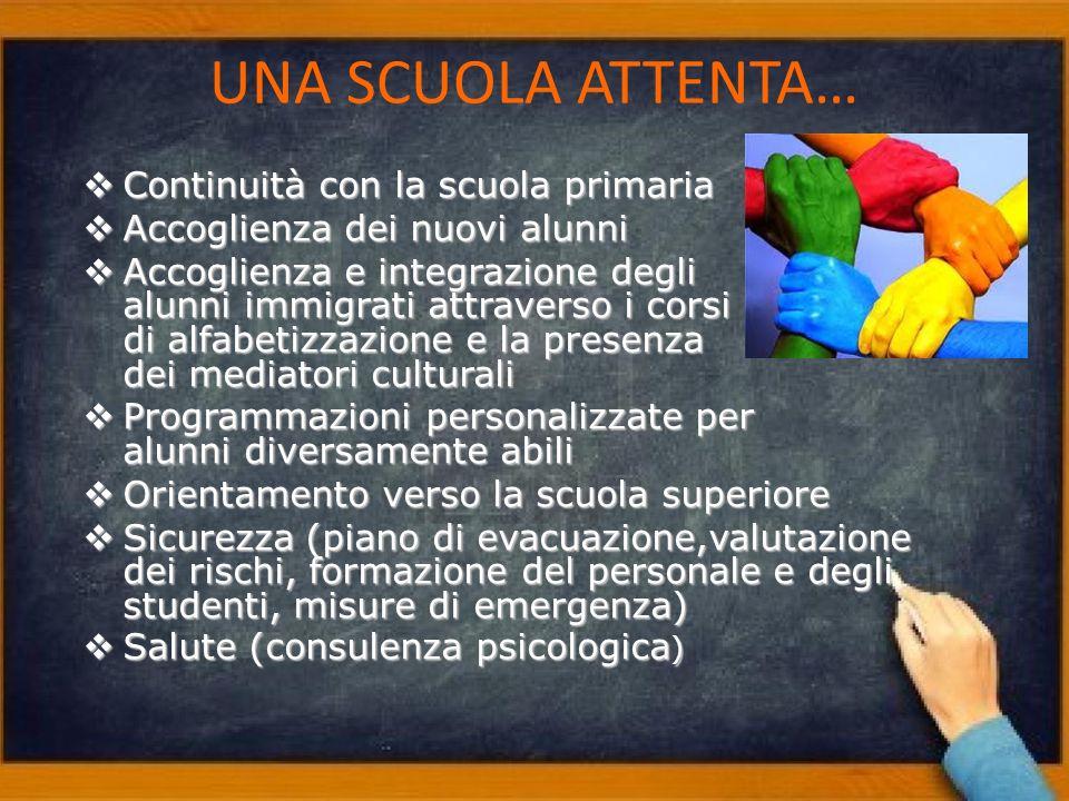 Continuità con la scuola primaria Continuità con la scuola primaria Accoglienza dei nuovi alunni Accoglienza dei nuovi alunni Accoglienza e integrazio