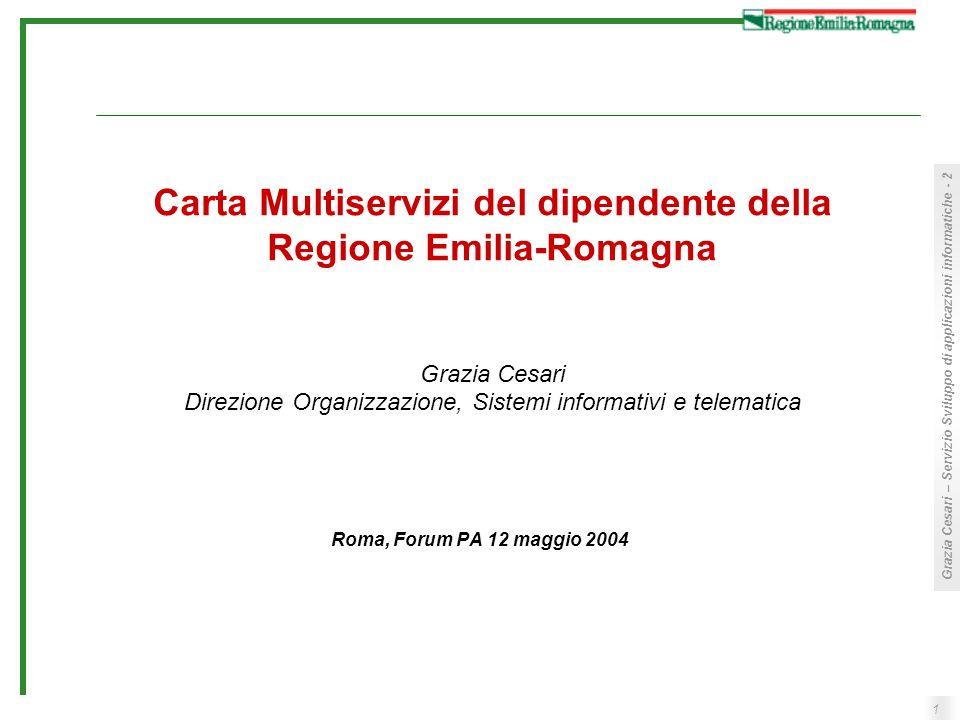 1 Grazia Cesari – Servizio Sviluppo di applicazioni informatiche - 2 Carta Multiservizi del dipendente della Regione Emilia-Romagna Grazia Cesari Dire