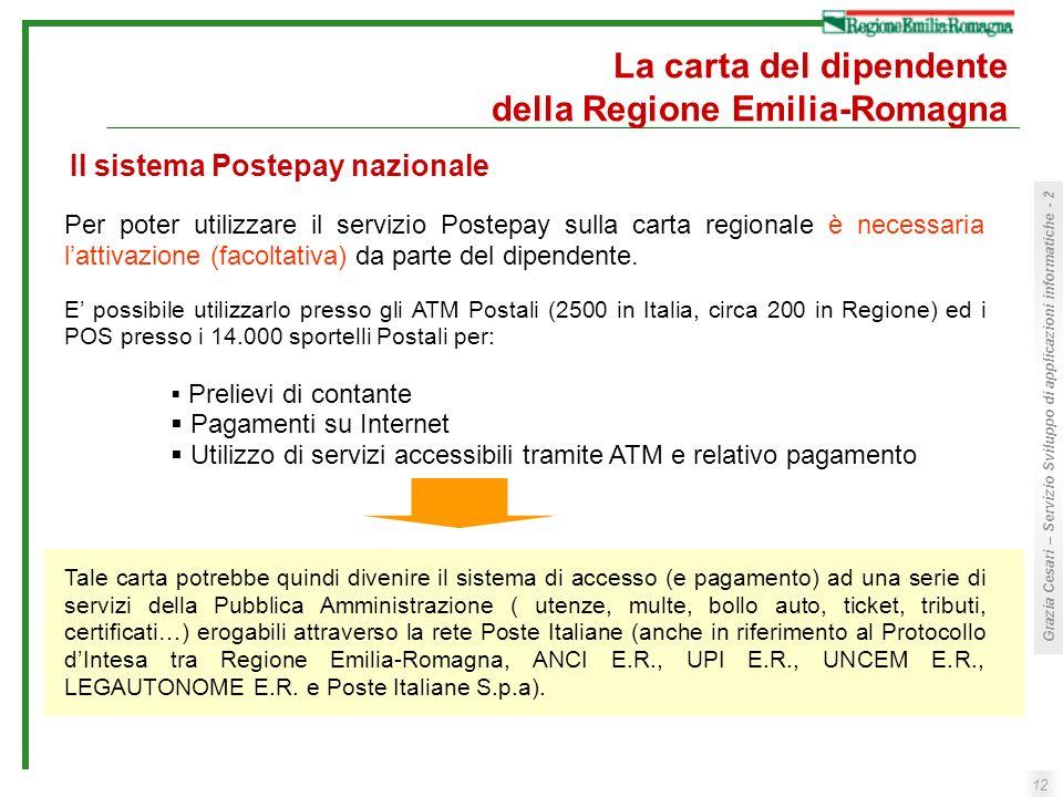 12 Grazia Cesari – Servizio Sviluppo di applicazioni informatiche - 2 La carta del dipendente della Regione Emilia-Romagna Per poter utilizzare il ser