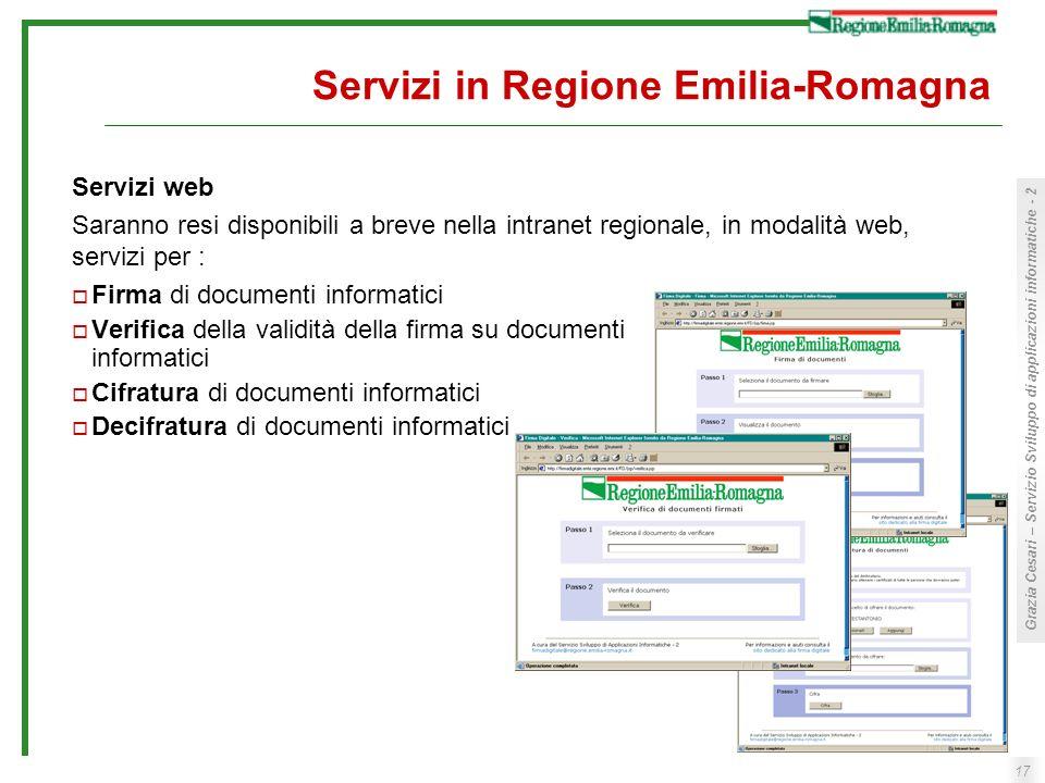 17 Grazia Cesari – Servizio Sviluppo di applicazioni informatiche - 2 Servizi in Regione Emilia-Romagna Firma di documenti informatici Verifica della