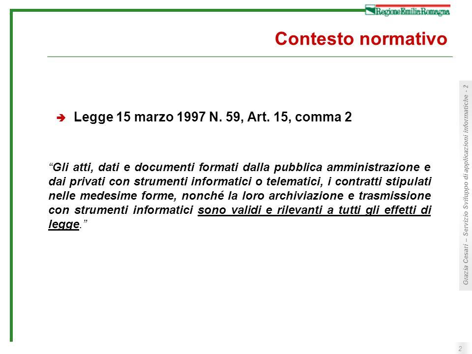 2 Grazia Cesari – Servizio Sviluppo di applicazioni informatiche - 2 Contesto normativo Legge 15 marzo 1997 N. 59, Art. 15, comma 2 Gli atti, dati e d