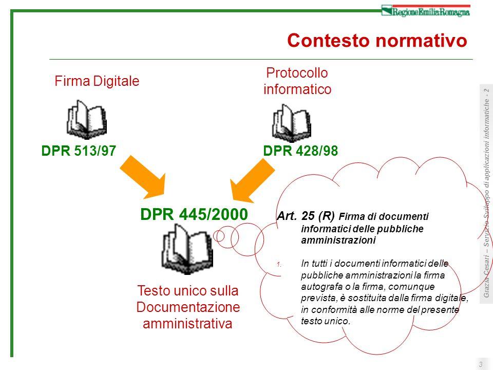 3 Grazia Cesari – Servizio Sviluppo di applicazioni informatiche - 2 Contesto normativo Firma Digitale Protocollo informatico Testo unico sulla Docume