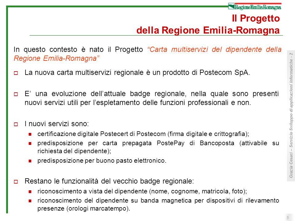 5 Grazia Cesari – Servizio Sviluppo di applicazioni informatiche - 2 Il Progetto della Regione Emilia-Romagna La nuova carta multiservizi regionale è