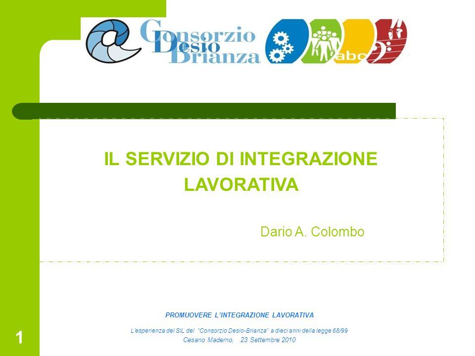 1 IL SERVIZIO DI INTEGRAZIONE LAVORATIVA Dario A. Colombo PROMUOVERE LINTEGRAZIONE LAVORATIVA Lesperienza del SIL del Consorzio Desio-Brianza a dieci