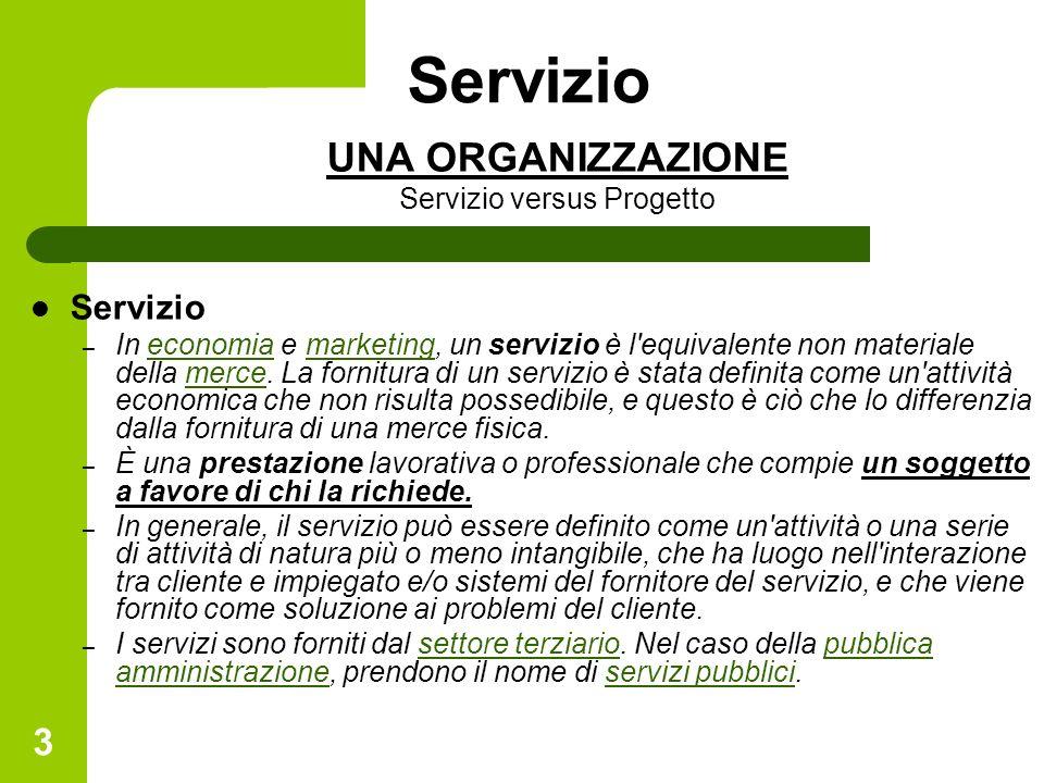 3 Servizio UNA ORGANIZZAZIONE Servizio versus Progetto Servizio – In economia e marketing, un servizio è l equivalente non materiale della merce.