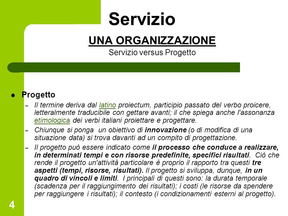 4 Servizio UNA ORGANIZZAZIONE Servizio versus Progetto Progetto – Il termine deriva dal latino proiectum, participio passato del verbo proicere, lette