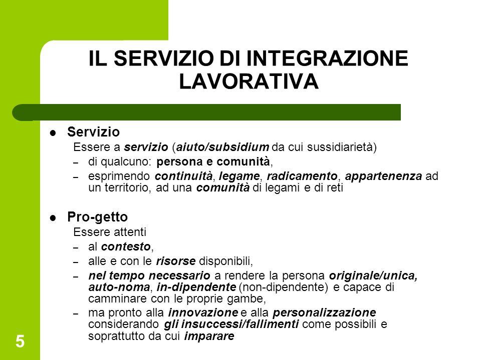 5 IL SERVIZIO DI INTEGRAZIONE LAVORATIVA Servizio Essere a servizio (aiuto/subsidium da cui sussidiarietà) – di qualcuno: persona e comunità, – esprim