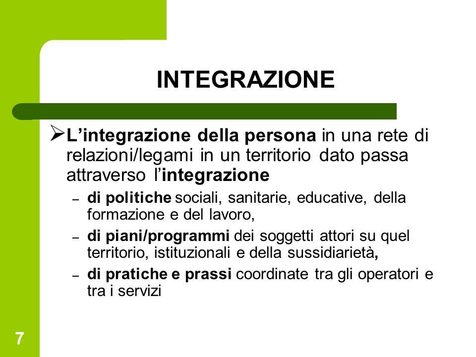7 INTEGRAZIONE Lintegrazione della persona in una rete di relazioni/legami in un territorio dato passa attraverso lintegrazione – di politiche sociali