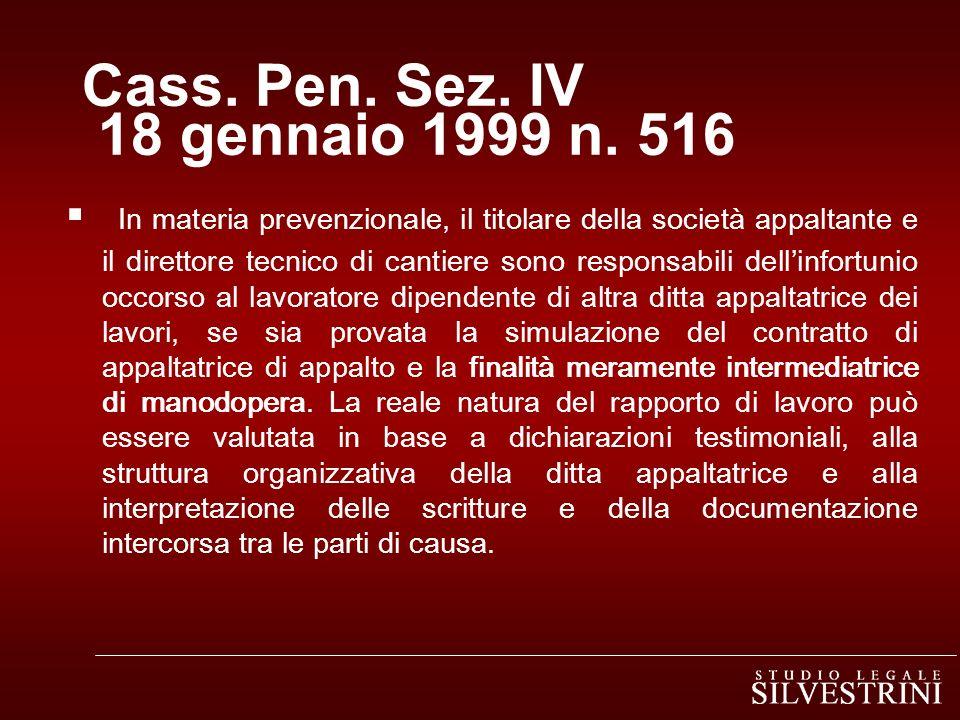 Cass.Pen. Sez. IV 18 gennaio 1999 n.