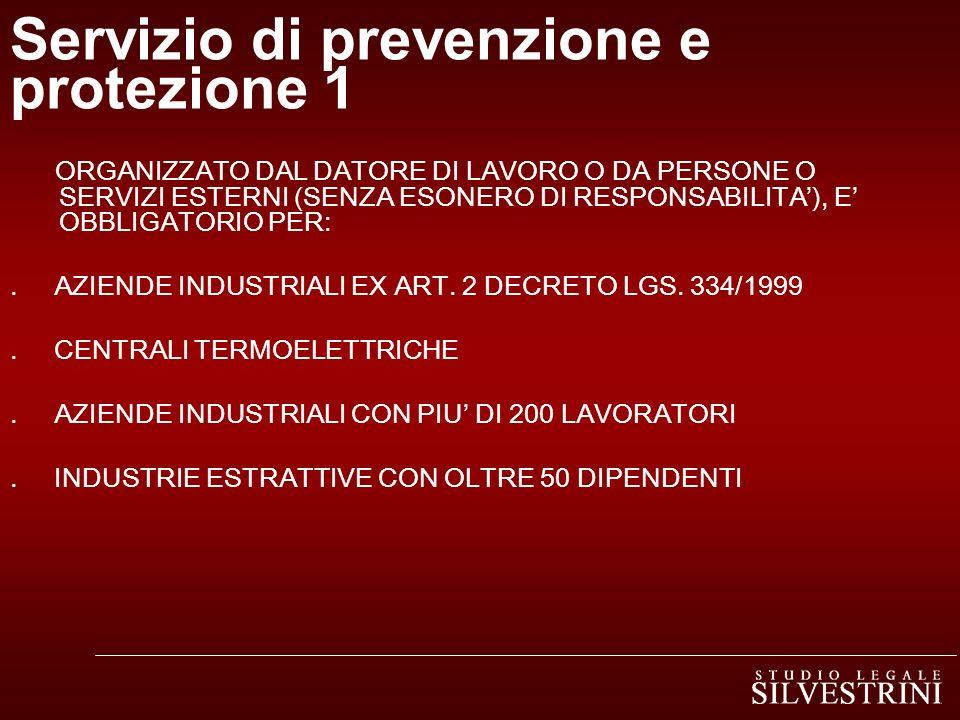 Servizio di prevenzione e protezione 1 ORGANIZZATO DAL DATORE DI LAVORO O DA PERSONE O SERVIZI ESTERNI (SENZA ESONERO DI RESPONSABILITA), E OBBLIGATORIO PER:.