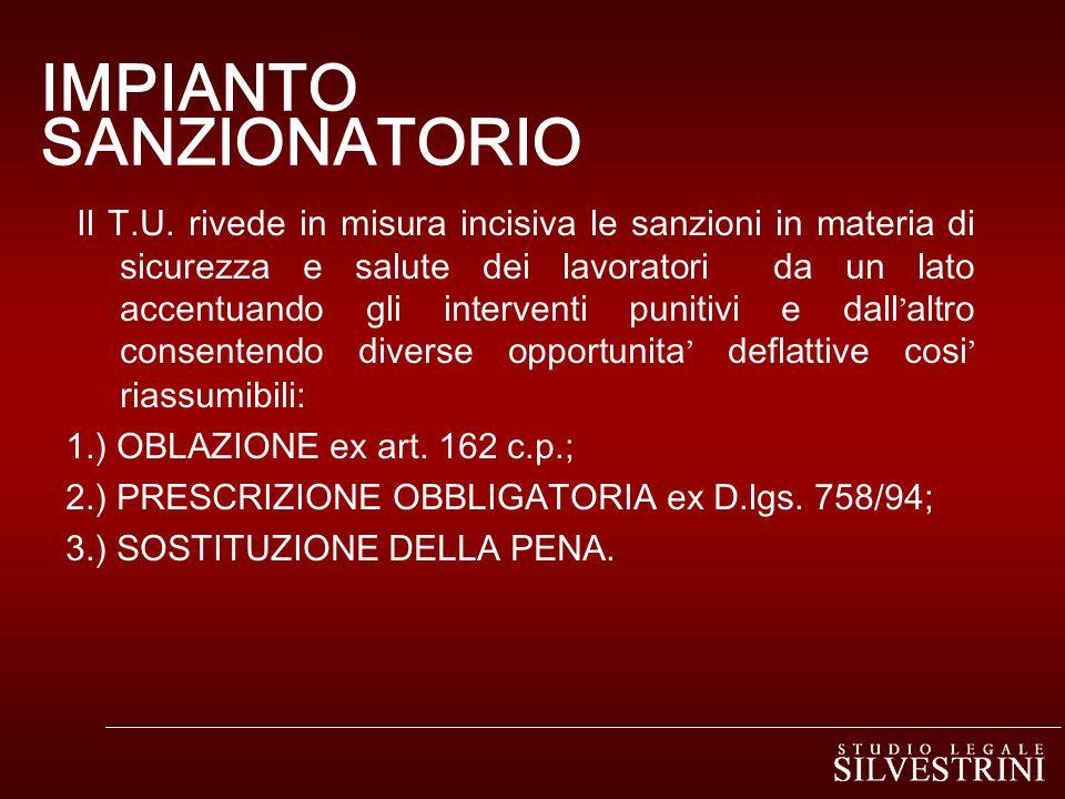 IMPIANTO SANZIONATORIO Il T.U.