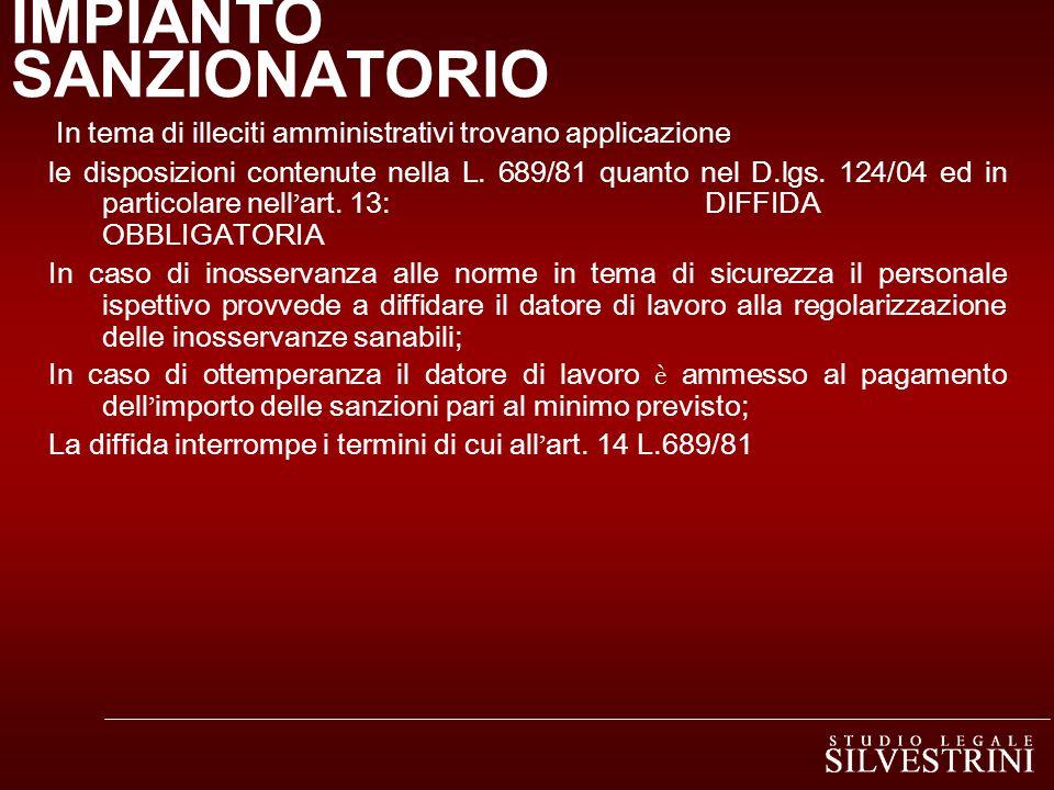 IMPIANTO SANZIONATORIO In tema di illeciti amministrativi trovano applicazione le disposizioni contenute nella L.