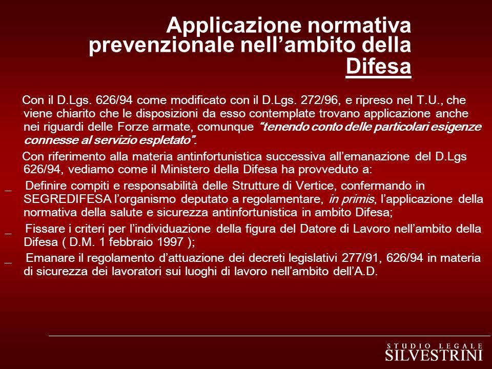 Applicazione normativa prevenzionale nellambito della Difesa Con il D.Lgs.