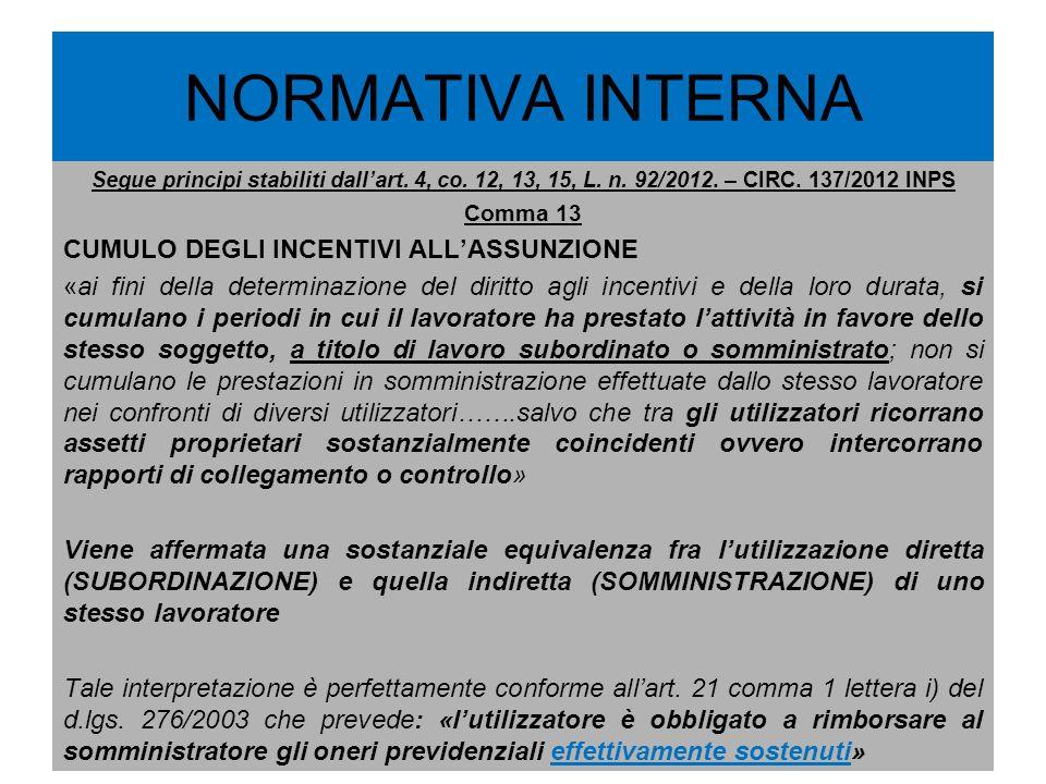 NORMATIVA INTERNA Segue principi stabiliti dallart. 4, co. 12, 13, 15, L. n. 92/2012. – CIRC. 137/2012 INPS Comma 13 CUMULO DEGLI INCENTIVI ALLASSUNZI