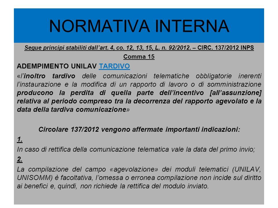NORMATIVA INTERNA Segue principi stabiliti dallart. 4, co. 12, 13, 15, L. n. 92/2012. – CIRC. 137/2012 INPS Comma 15 ADEMPIMENTO UNILAV TARDIVO «linol