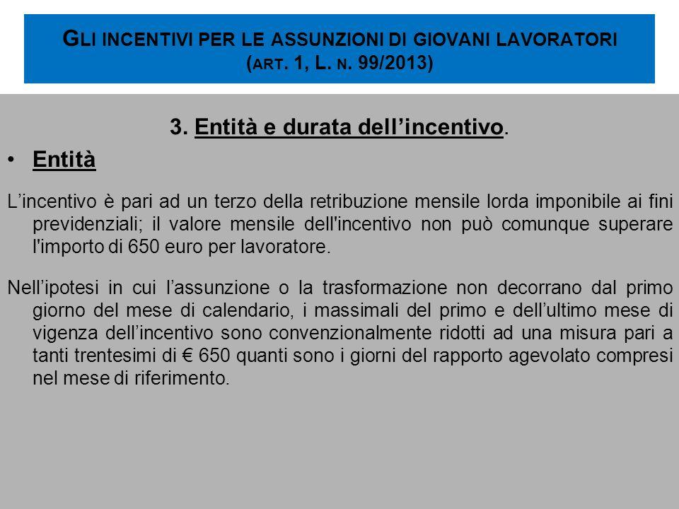G LI INCENTIVI PER LE ASSUNZIONI DI GIOVANI LAVORATORI ( ART. 1, L. N. 99/2013) 3. Entità e durata dellincentivo. Entità Lincentivo è pari ad un terzo