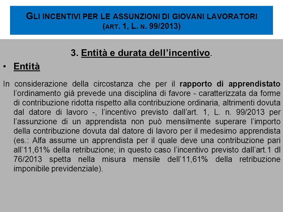 G LI INCENTIVI PER LE ASSUNZIONI DI GIOVANI LAVORATORI ( ART. 1, L. N. 99/2013) 3. Entità e durata dellincentivo. Entità In considerazione della circo