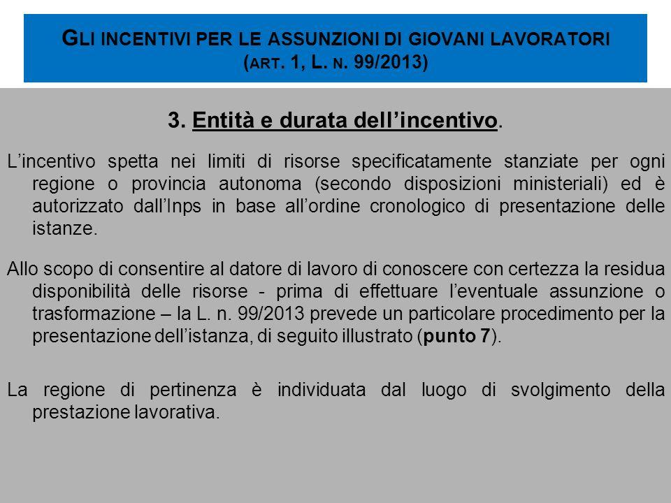 G LI INCENTIVI PER LE ASSUNZIONI DI GIOVANI LAVORATORI ( ART. 1, L. N. 99/2013) 3. Entità e durata dellincentivo. Lincentivo spetta nei limiti di riso