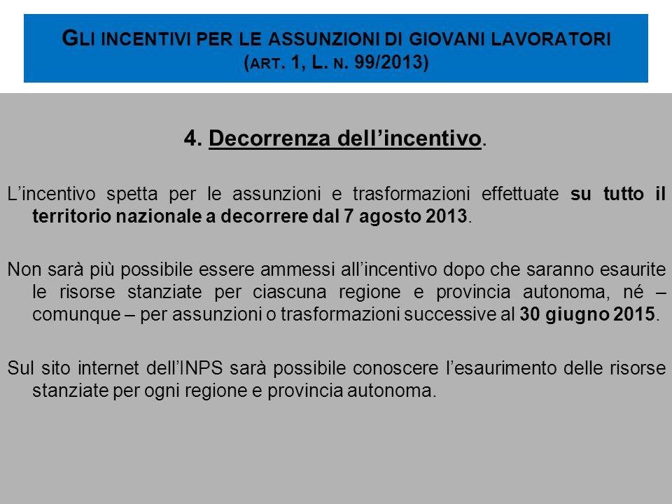 G LI INCENTIVI PER LE ASSUNZIONI DI GIOVANI LAVORATORI ( ART. 1, L. N. 99/2013) 4. Decorrenza dellincentivo. Lincentivo spetta per le assunzioni e tra