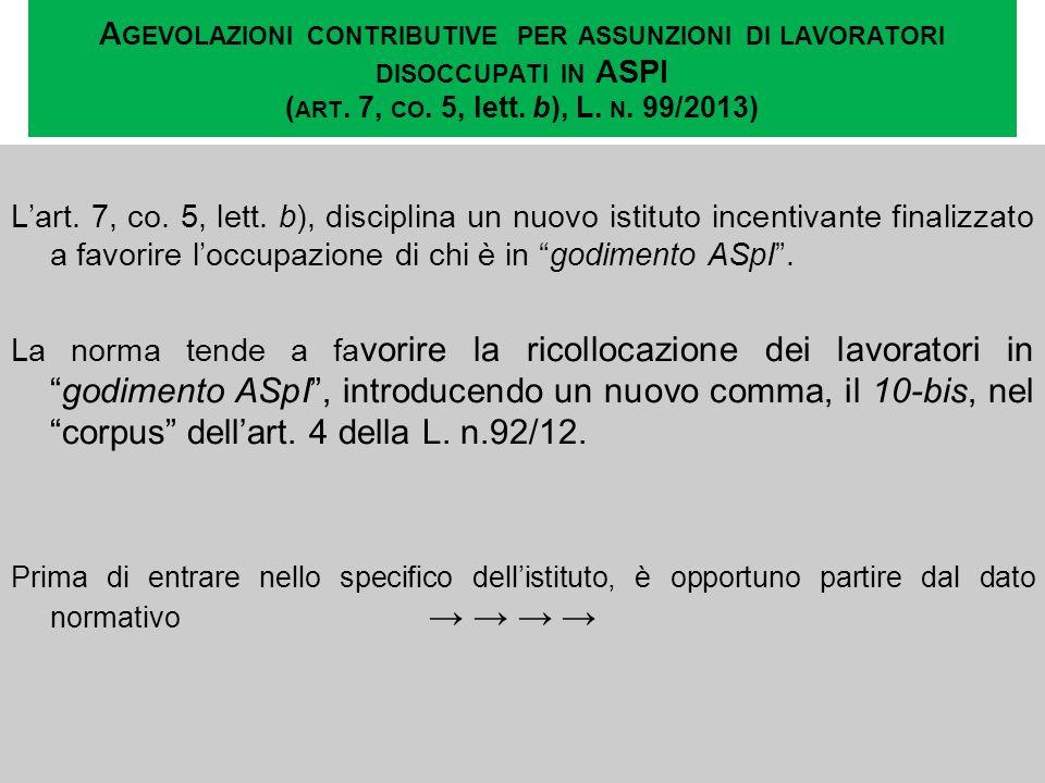 A GEVOLAZIONI CONTRIBUTIVE PER ASSUNZIONI DI LAVORATORI DISOCCUPATI IN ASPI ( ART. 7, CO. 5, lett. b), L. N. 99/2013) Lart. 7, co. 5, lett. b), discip