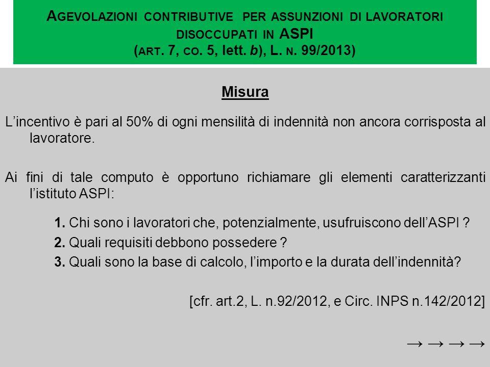 A GEVOLAZIONI CONTRIBUTIVE PER ASSUNZIONI DI LAVORATORI DISOCCUPATI IN ASPI ( ART. 7, CO. 5, lett. b), L. N. 99/2013) Misura Lincentivo è pari al 50%