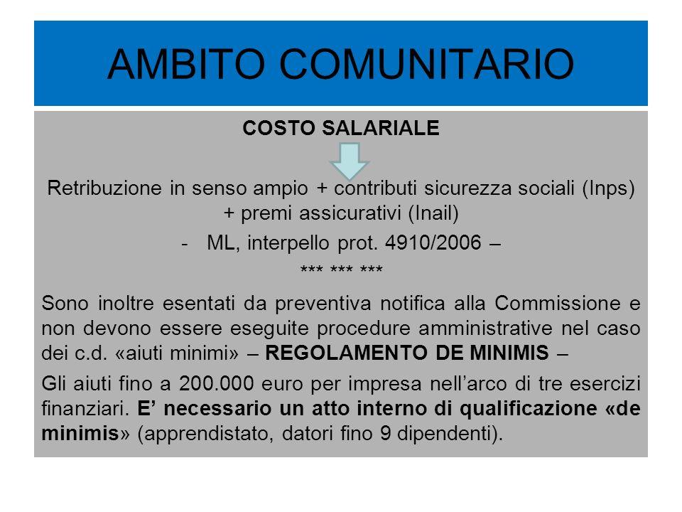 AMBITO COMUNITARIO COSTO SALARIALE Retribuzione in senso ampio + contributi sicurezza sociali (Inps) + premi assicurativi (Inail) -ML, interpello prot