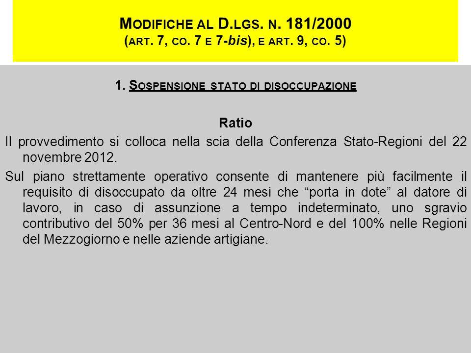 M ODIFICHE AL D. LGS. N. 181/2000 ( ART. 7, CO. 7 E 7-bis), E ART. 9, CO. 5) 1. S OSPENSIONE STATO DI DISOCCUPAZIONE Ratio Il provvedimento si colloca