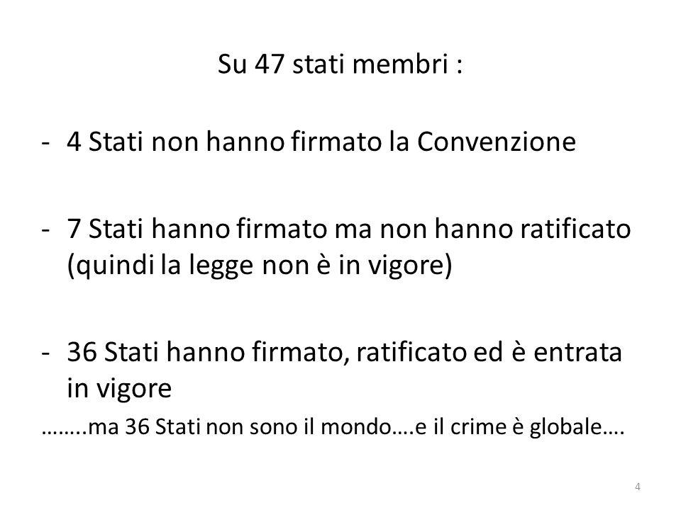 Su 47 stati membri : -4 Stati non hanno firmato la Convenzione -7 Stati hanno firmato ma non hanno ratificato (quindi la legge non è in vigore) -36 Stati hanno firmato, ratificato ed è entrata in vigore ……..ma 36 Stati non sono il mondo….e il crime è globale….