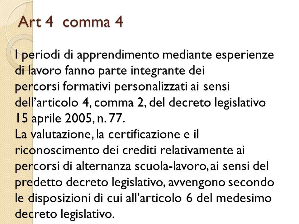 Art 4 comma 4 I periodi di apprendimento mediante esperienze di lavoro fanno parte integrante dei percorsi formativi personalizzati ai sensi dellartic