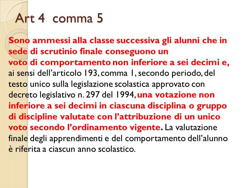 Art 4 comma 5 Sono ammessi alla classe successiva gli alunni che in sede di scrutinio finale conseguono un voto di comportamento non inferiore a sei d